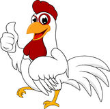 Happy Chicken. Illustration Of Happy Chicken Standing On White Stock Image