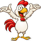 Happy chicken. Happy cartoon chicken. Vector clip art illustration with simple gradients. All in a single layer stock illustration