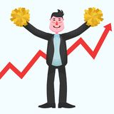 Satisfied businessman with pompoms against the background of growing infographics. The happy chief smiles and waves pompoms against the backdrop of growing Stock Photos