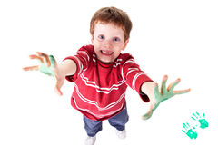 Happy Child. Photo of an adorable child playing with paint Royalty Free Stock Images