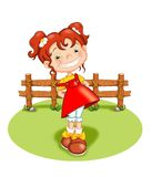 Happy child. Colored illustration of a happy child on a lawn Stock Photos