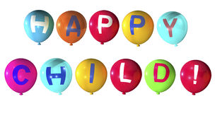 Happy child. In abstract balloons word Royalty Free Stock Photography