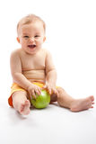 Happy child with apple Stock Image
