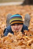 Happy child in autumn leaves royalty free stock photography