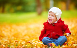 Happy child on autumn nature walks in golden foliage Royalty Free Stock Images
