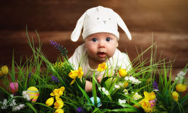 Happy child baby dressed as the Easter bunny rabbit on the grass. Happy child baby dressed as the Easter bunny rabbit lying on the grass on the lawn with flowers Stock Images