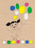 Happy child baby girl with colorful baloons sketch Stock Photos