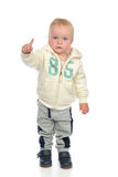 Happy child baby toddler pointing finger smiling Stock Photography