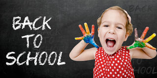 Happy child back to school Royalty Free Stock Images