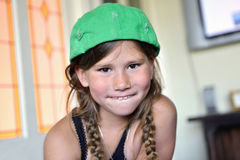 Happy child with baseball cap. Smiling child with cap at home Royalty Free Stock Images