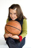 Happy child with basketball Stock Photos