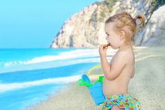 Happy child on the beach Stock Photo