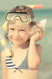 Happy child on the beach Royalty Free Stock Photography