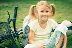 Happy child on a bicycle Royalty Free Stock Photography