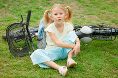 Happy child on a bicycle Royalty Free Stock Image