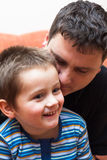Happy child boy with daddy Royalty Free Stock Image