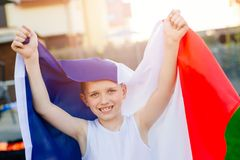 Happy child boy with France national flag Royalty Free Stock Photography
