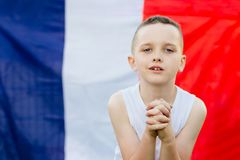 Happy child boy with France national flag Stock Photo