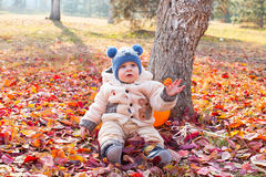 Happy child boy is playing with leaves in autumn park. Royalty Free Stock Photography