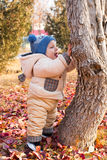 Happy child boy is playing with leaves in autumn park. Royalty Free Stock Photos