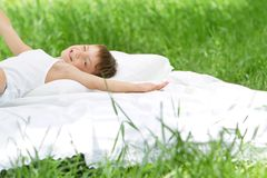 Happy child boy relaxing on nature Royalty Free Stock Photo