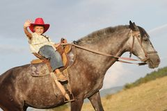 Happy child boy riding horse on nature Stock Images