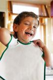 Happy child after breakfast Stock Photography