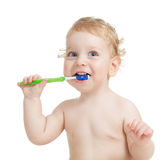 Happy child brushing teeth isolated Royalty Free Stock Photos