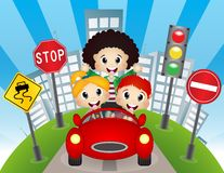 Happy Child on a car Stock Images