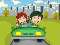Happy Child on a car with city background cartoon Stock Image