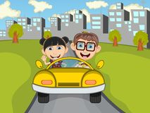 Happy Child on a car with city background cartoon Stock Images