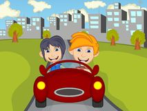 Happy Child on a car with city background cartoon Royalty Free Stock Images