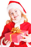 Happy child with christmas box Stock Photos