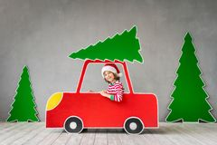 Happy child on Christmas eve royalty free stock image