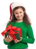 Happy child with Christmas gift Royalty Free Stock Photography
