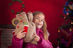 Happy child with Christmas gift Stock Photo