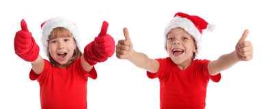 Happy child in christmas hat Royalty Free Stock Photos