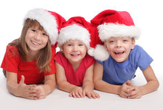 Happy child in christmas hat Royalty Free Stock Image