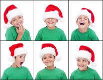 Happy child with christmas hat Stock Photo