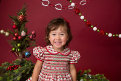 Happy Child in Christmas Outfit, Winter Setup Stock Photo
