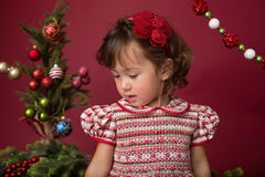 Happy Child in Christmas Outfit, Winter Setup Stock Image