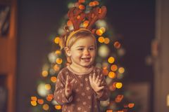 Happy child on Christmas party royalty free stock photos