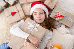 Happy child with Christmas present boxes and gifts, top view Royalty Free Stock Photo