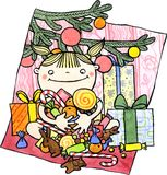 Happy child with a Christmas presents and goodies. Cute girl sitting under Christmas tree and holding sweets, fruits, chocolate. Watercolor and ink illustration Stock Photos