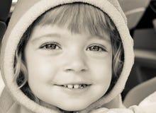 Happy child closeup. Black and white child closeup Royalty Free Stock Image