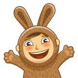 Happy child in costume rabbit. Bunny, hare cartoon. Vector illustration Stock Photos