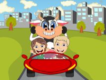 Happy Child with cow on a car with city background cartoon. Full color Stock Image