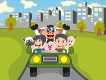 Happy Child, cow, pig, sheep and goat on a car with city background cartoon. Full color Royalty Free Stock Images