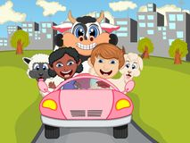 Happy Child, cow, and sheep on a car with city background cartoon. Full color Royalty Free Stock Photography