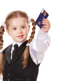 Happy child with credit card. Royalty Free Stock Image